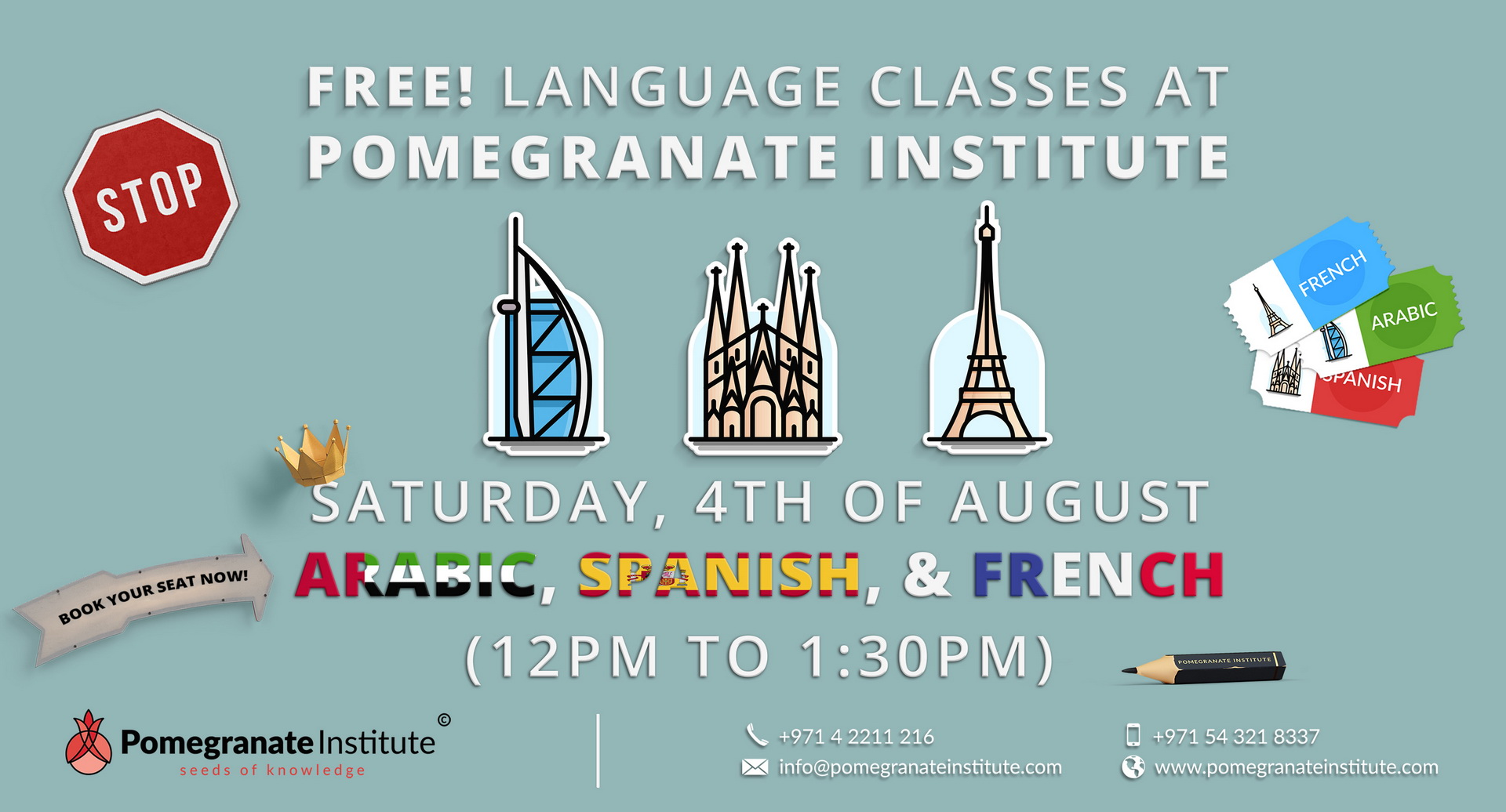 Free Arabic, Spanish & French Demo Class